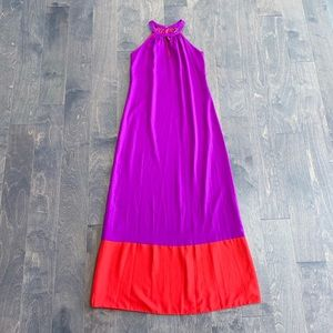 Julie Brown Purple & Red Maxi Dress NWT
